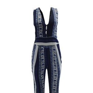 Free People All Shook Up Jumpsuit Blue